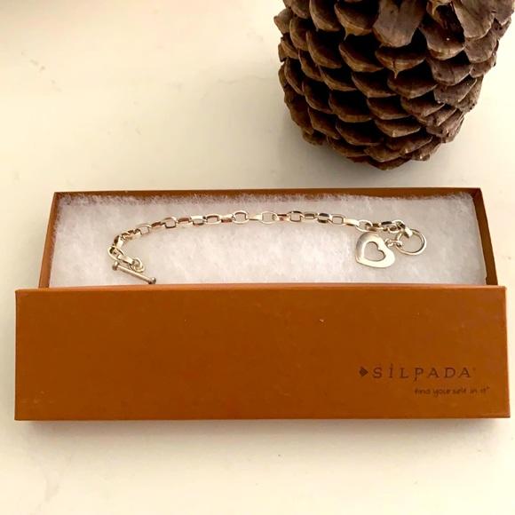 Silpada chain link silver bracelet with heart, NWT